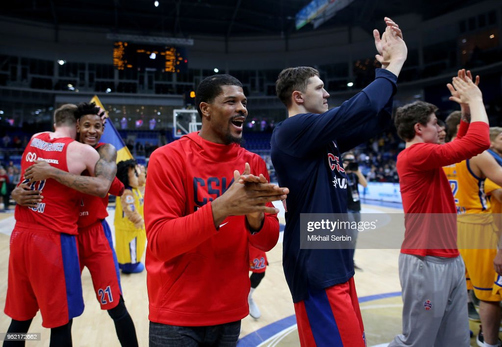 Kyle Hines, #42 and Semen Antonov, #11 of CSKA Moscow after the Turkish Airlines Euroleague Play Offs Game 4 between Khimki Moscow Region v CSKA Moscow at Arena Mytishchi on April 27, 2018 in Moscow, Russia.