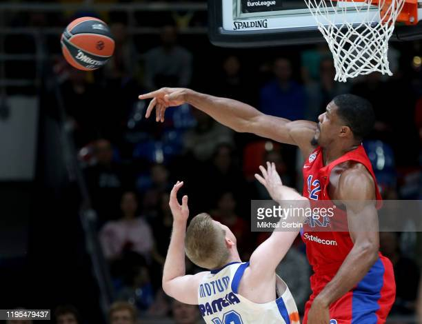 Kyle Hines, #42 of CSKA Moscow blocks Brock Motum, #12 of Valencia Basket in action during the 2019/2020 Turkish Airlines EuroLeague Regular Season...
