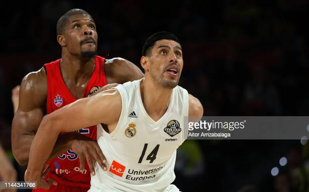 Kyle Hines #42 of CSKA Moscow competes with Gustavo Ayon #14 of Real Madrid during 2019 Turkish Airlines EuroLeague Final Four Semifinal B game...