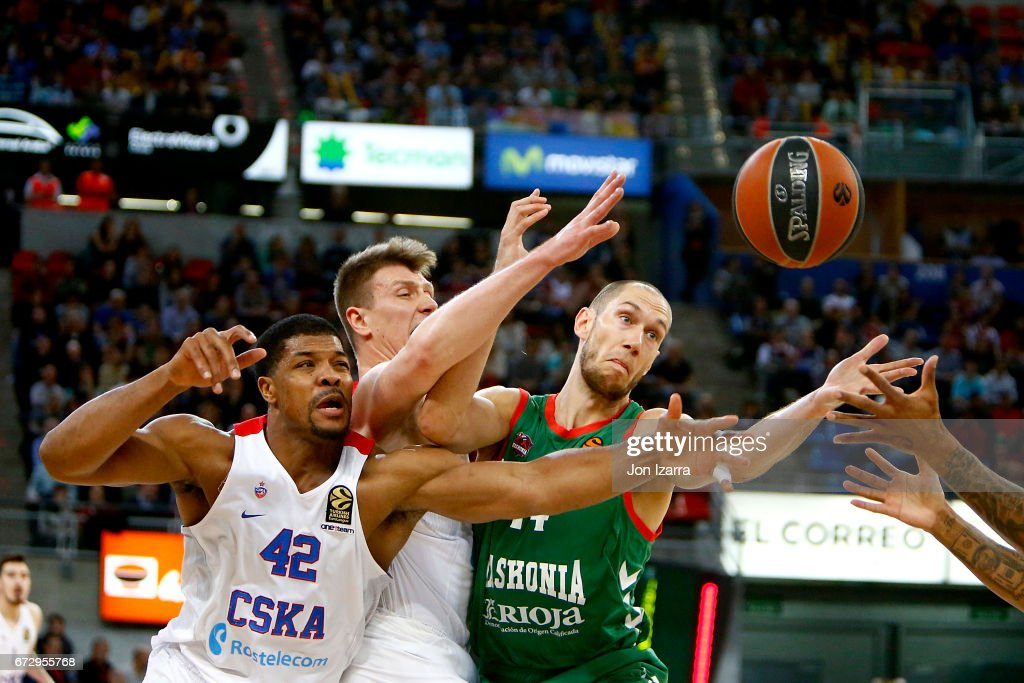 Kyle Hines, #42 of CSKA Moscow competes with Kim Tillie, #14 of Baskonia Vitoria Gasteiz during the 2016/2017 Turkish Airlines EuroLeague Playoffs leg 3 game between Baskonia Vitoria Gasteiz v CSKA Moscow at Fernando Buesa Arena on April 25, 2017 in Vitoria-Gasteiz, Spain.