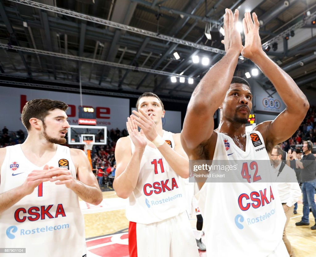 Kyle Hines, #42 of CSKA Moscow in action after the 2017/2018 Turkish Airlines EuroLeague Regular Season Round 11 game between Brose Bamberg and CSKA Moscow at Brose Arena on December 7, 2017 in Bamberg, Germany.