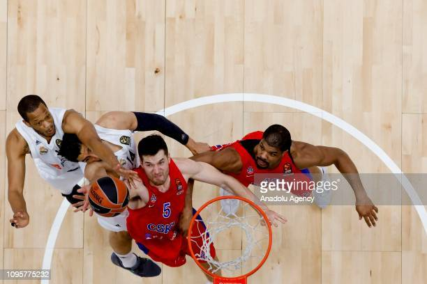 Kyle Hines and Alec Peters of CSKA Moscow vies with Anthony Randolph and Gustavo Ayon of Real Madrid during the Turkish Airlines Euroleague match...