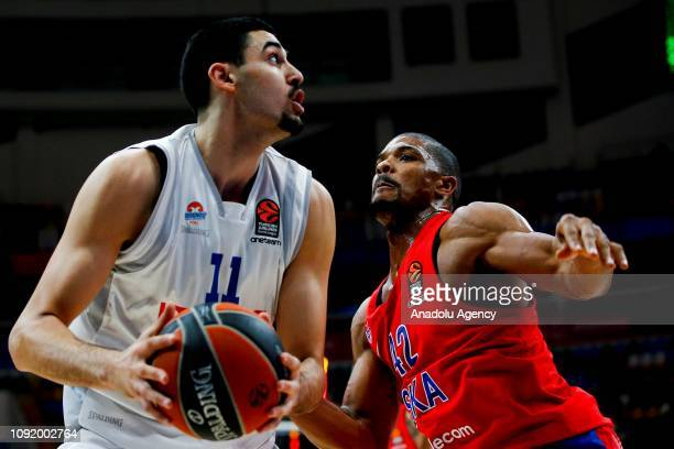Kyle Hines of CSKA Moscow vies with Goga Bitadze of Buducnost during the Turkish Airlines Euroleague match between CSKA Moscow and Buducnost at the...
