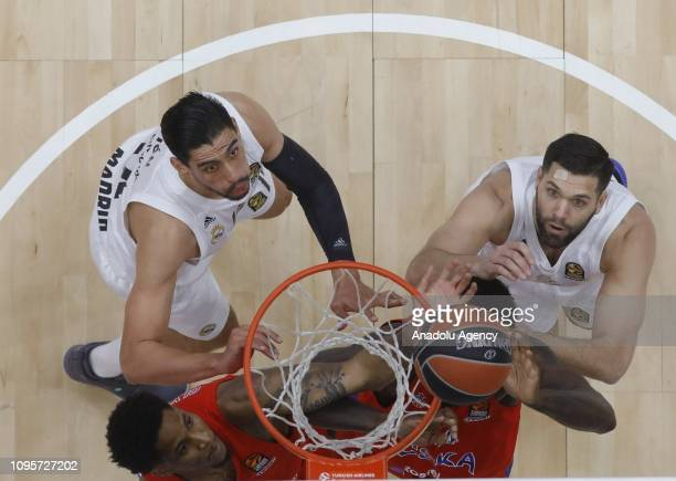 Kyle Hines of CSKA Moscow vies with Gustavo Ayon of Real Madrid during the Turkish Airlines Euroleague match between CSKA Moscow and Real Madrid at...