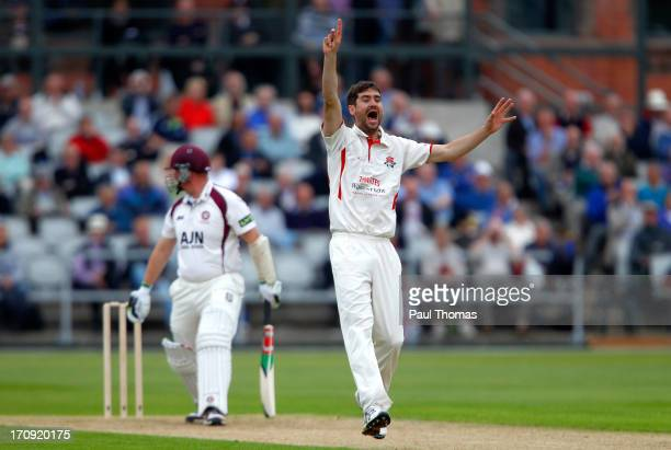 Kyle Hogg of Lancashire successfully appeals for the wicket of David Sales of Northamptonshire during day one of the LV County Championship Division...