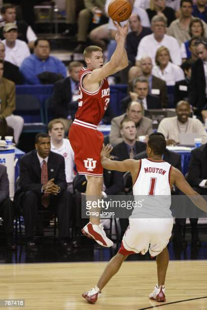 Kyle Hornsby of the Indiana Hoosiers shoots over Byron Mouton of the Maryland Terrapins during the men's NCAA Basketball National Championship game...