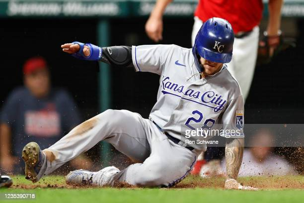 Kyle Isbel of the Kansas City Royals scores against the Cleveland Indians in the sixth inning during game two of a doubleheader at Progressive Field...