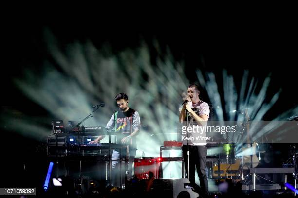 Kyle J Simmons and Dan Smith of Bastille perform on stage during KROQ Absolut Almost Acoustic Christmas at The Forum on December 9 2018 in Inglewood...