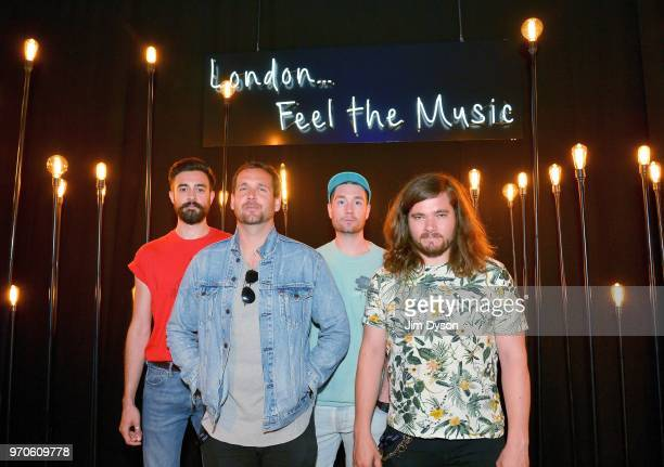 Kyle J Simmons William Farquarson Dan Smith and Chris Wood of BRIT Awardwinning rock band Bastille's before their performance exclusively for Hilton...