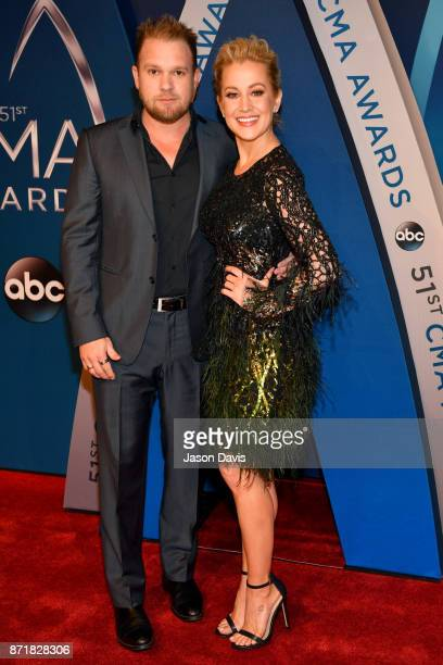 Kyle Jacobs and Kellie Pickler attend the 51st annual CMA Awards at the Bridgestone Arena on November 8 2017 in Nashville Tennessee
