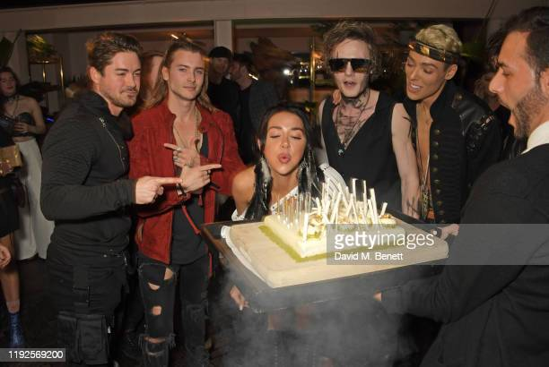 Kyle James Elijah Rowen Melissa Moore Jack McEvoy and guest attend Natasha Grano's birthday party at The Mandrake Hotel on January 8 2020 in London...