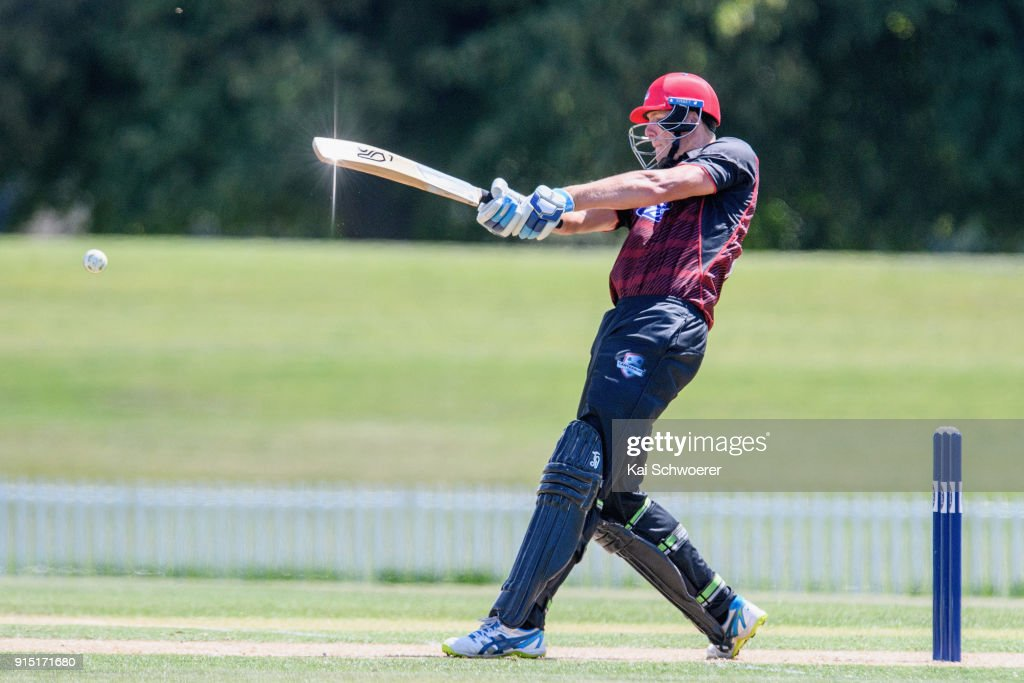Kyle Jamieson of Canterbury bats during the One Day Ford Trophy Cup match between Canterbury and Auckland on February 7, 2018 in Christchurch, New Zealand.