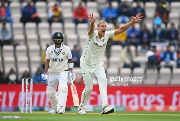 Kyle Jamieson of New Zealand appeals successfully for the wicket of Virat Kohli of India during Day 3 of the ICC World Test Championship Final...
