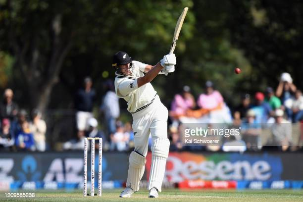 Kyle Jamieson of New Zealand bats during day two of the Second Test match between New Zealand and India at Hagley Oval on March 01, 2020 in...
