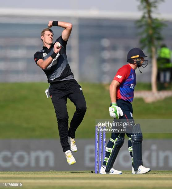 Kyle Jamieson of New Zealand bowls during the England and New Zealand warm Up Match prior to the ICC Men's T20 World Cup at on October 20, 2021 in...