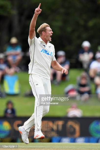 Kyle Jamieson of New Zealand celebrates after dismissing Abid Ali of Pakistan during day four of the Second Test match in the series between New...