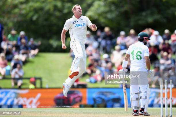 Kyle Jamieson of New Zealand celebrates after dismissing Mohammad Rizwan of Pakistan during day four of the Second Test match in the series between...