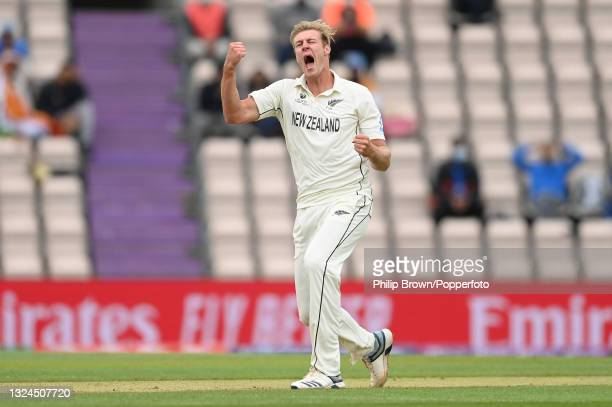 Kyle Jamieson of New Zealand celebrates after dismissing Virat Kohli of India during Day 3 of the ICC World Test Championship Final between India and...