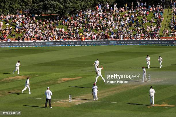 Kyle Jamieson of New Zealand celebrates after taking the wicket of Shamarh Brooks of West Indies during day two of the second test match in the...