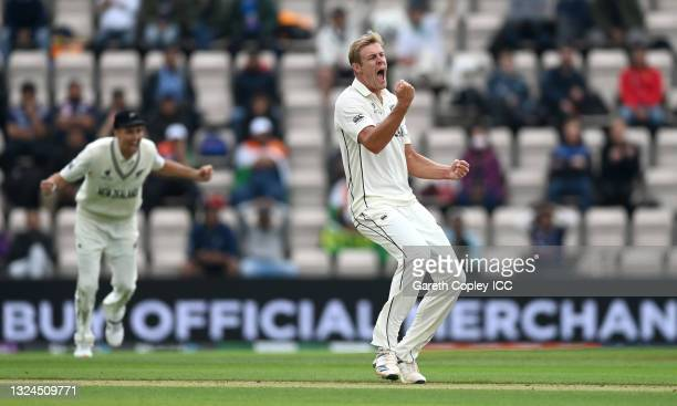 Kyle Jamieson of New Zealand celebrates dismissing Rishabh Pant of India during Day 3 of the ICC World Test Championship Final between India and New...