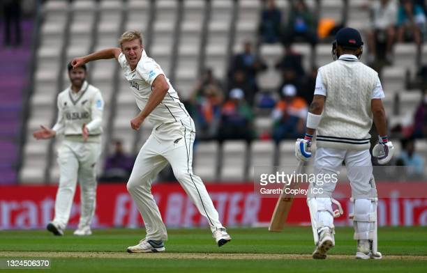 Kyle Jamieson of New Zealand celebrates dismissing Virat Kohli of India during Day 3 of the ICC World Test Championship Final between India and New...