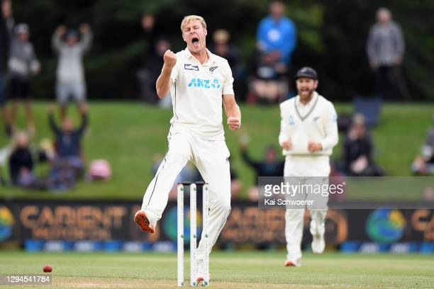 Kyle Jamieson of New Zealand unsuccessfully appeals for the wicket of Abid Ali of Pakistan during day three of the Second Test match in the series...