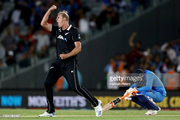 Kyle Jamieson of the Black Caps celebrates the wicket of Navdeep Saini of India during game two of the One Day International Series between New...