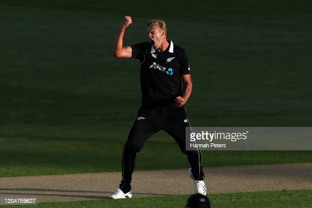 Kyle Jamieson of the Black Caps celebrates the wicket of Prithvi Shaw of India during game two of the One Day International Series between New...
