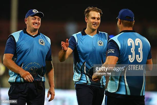 Kyle Jarvis of Leo Lions celebrates the wicket of Ryan ten Doeschate of Libra Legends with team-mate Heath Streak during the Oxigen Masters Champions...