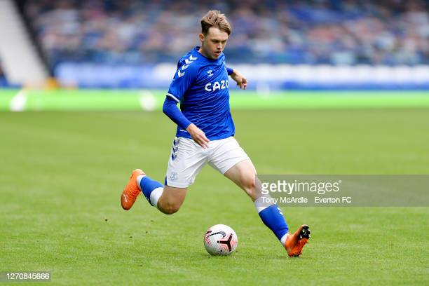 Kyle John of Everton during the PreSeason Friendly match between Everton and Preston North End at Goodison Park on September 5 2020 in Liverpool...