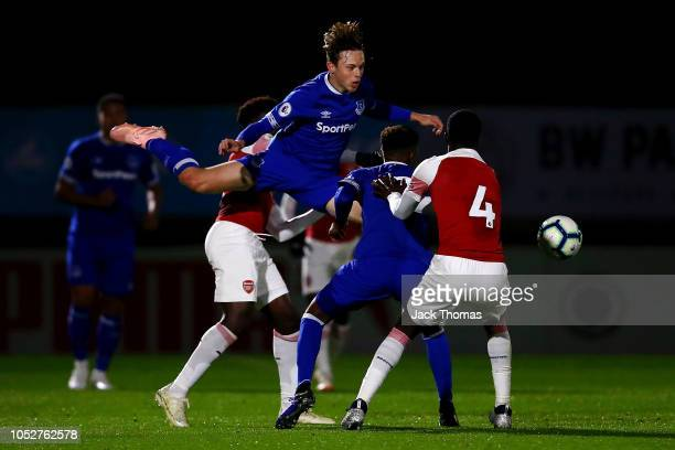 Kyle John of Everton headers the ball during the Premier League 2 match between Arsenal and Everton at Meadow Park on October 22 2018 in Borehamwood...