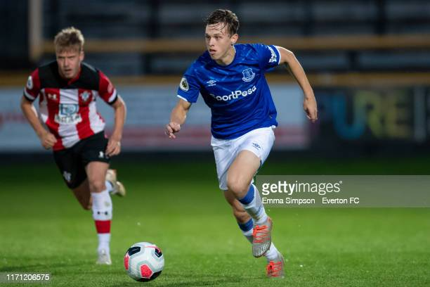 Kyle John of Everton in action during the Premier League 2 match between Everton and Southampton at Merseyrail Community Stadium on August 30 2019 in...