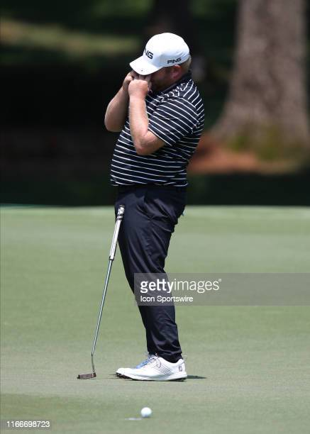 Kyle Jones attempts to sink a putt the 4th green during the first round of the Wyndham Championship on August 01 at Sedgefield Country Club in...