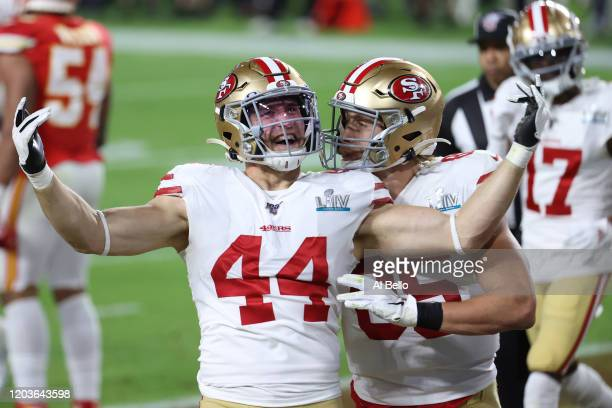 Kyle Juszczyk of the San Francisco 49ers celebrates a touchdown against the Kansas City Chiefs during the second quarter in Super Bowl LIV at Hard...