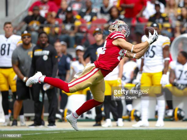 Kyle Juszczyk of the San Francisco 49ers makes a reception during the game against the Pittsburgh Steelers at Levi's Stadium on September 22 2019 in...