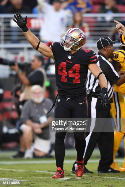 Kyle Juszczyk of the San Francisco 49ers reacts after a turnover by the Los Angeles Rams during their NFL game at Levi's Stadium on September 21 2017...
