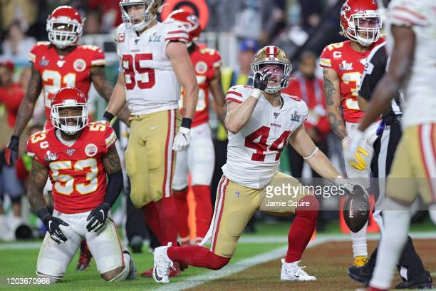 Kyle Juszczyk of the San Francisco 49ers reacts after being tackled in Super Bowl LIV at Hard Rock Stadium on February 02 2020 in Miami Florida