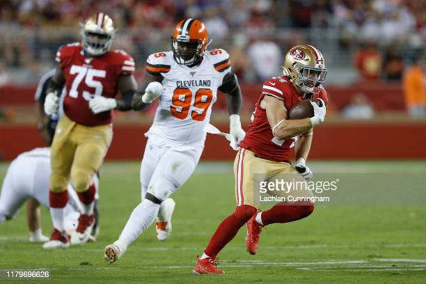 Kyle Juszczyk of the San Francisco 49ers runs the ball against the Cleveland Browns in the third quarter at Levi's Stadium on October 07 2019 in...