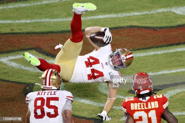 Kyle Juszczyk of the San Francisco 49ers scores on 15yard touchdown reception in the second quarter of Super Bowl LIV against the Kansas City Chiefs...