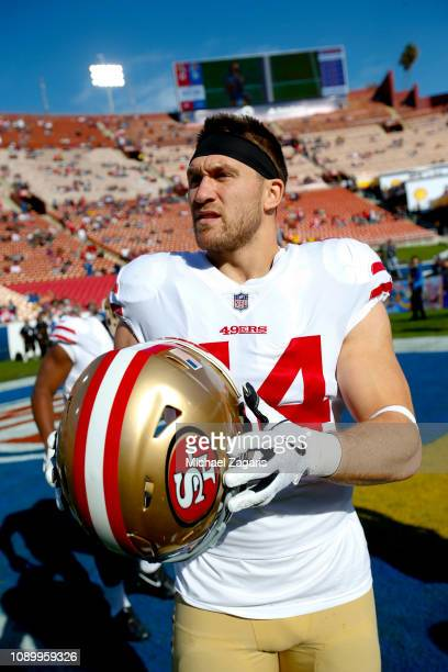 Kyle Juszczyk of the San Francisco 49ers stands on the field prior to the game against the Los Angeles Rams at the LA Memorial Coliseum on December...