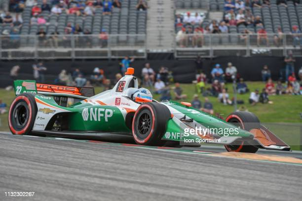 Kyle Kaiser of Juncos Racing driving a Chevy races out of turn 1 during the IndyCar afternoon qualifications at Circuit of the Americas on March 23...