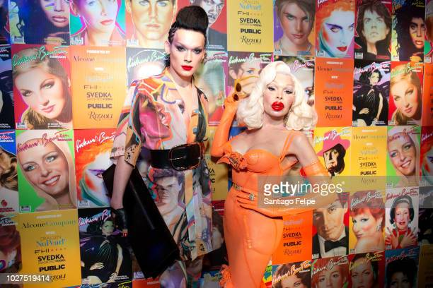 Kyle Karmery and Amanda Lepore attend Richard Bernstein STARMAKER Book Launch Party at Public Arts on September 5 2018 in New York City