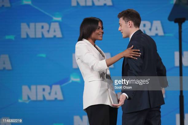 Kyle Kashuv a Marjory Stoneman Douglas High School student introduces activist Candace Owens during the NRAILA Leadership Forum at the 148th NRA...