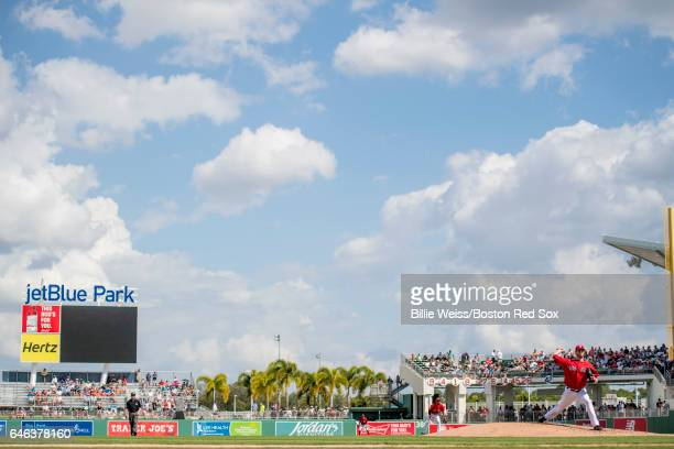 Kyle Kendrick of the Boston Red Sox delivers during the first inning of a Spring Training game against the New York Yankees on February 28 2017 at...