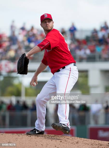 Kyle Kendrick of the Boston Red Sox pitches during a spring training game against the New York Mets on February 24 2017 at jetBlue Park in Fort Myers...