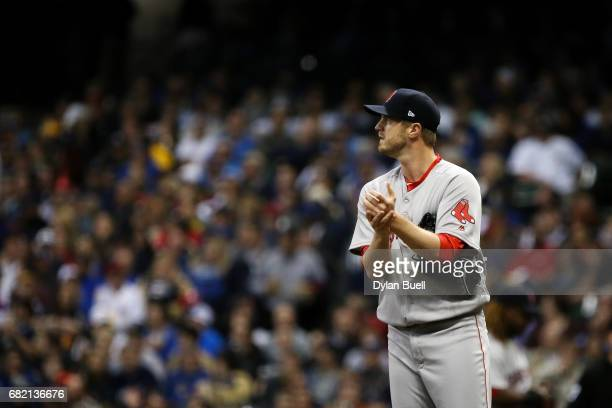 Kyle Kendrick of the Boston Red Sox stands on the mound in the first inning against the Milwaukee Brewers at Miller Park on May 10 2017 in Milwaukee...