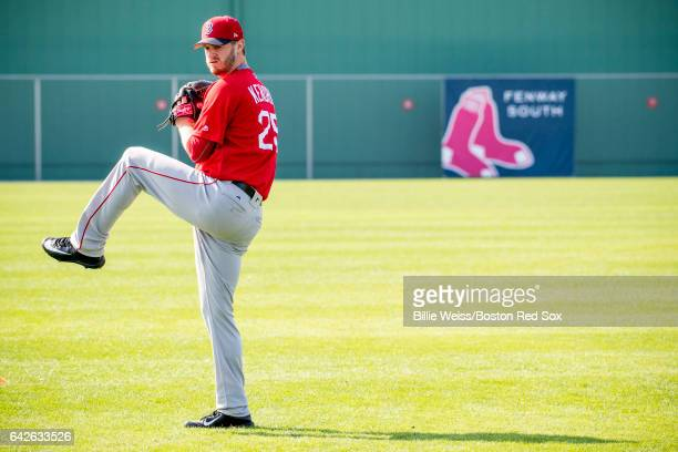 Kyle Kendrick of the Boston Red Sox throws during a team workout on February 18 2017 at Fenway South in Fort Myers Florida