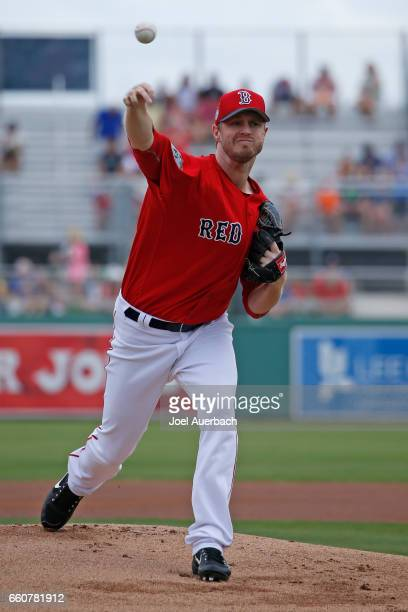 Kyle Kendrick of the Boston Red Sox throws the ball against the Washington Nationals in the first inning during a spring training game at JetBlue...