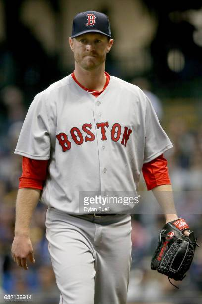 Kyle Kendrick of the Boston Red Sox walks off the mound after the second inning against the Milwaukee Brewers at Miller Park on May 10, 2017 in...
