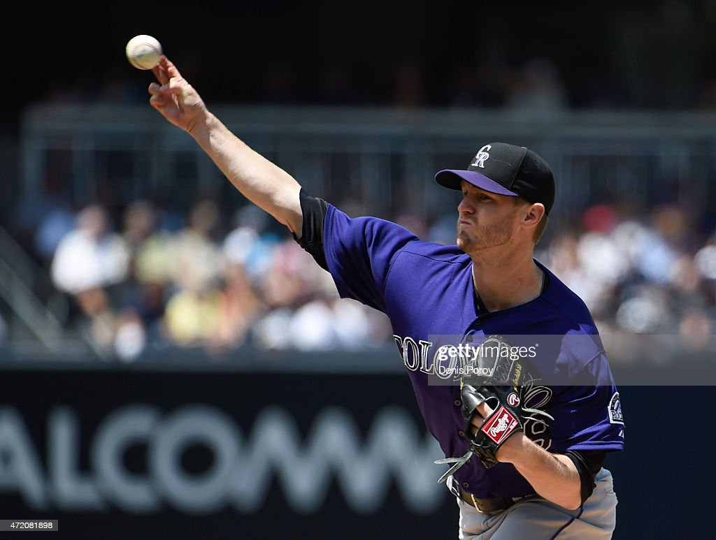 Kyle Kendrick #38 of the Colorado Rockies pitches during the first inning of a baseball game against the San Diego Padres at Petco Park May 3, 2015 in San Diego, California.